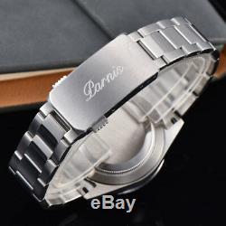 39mm PARNIS Black Dial Sapphire Crystal Soild full Chronograph Quartz Mens Watch