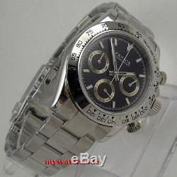 39mm PARNIS black dial sapphire glass soild full Chronograph quartz mens watch
