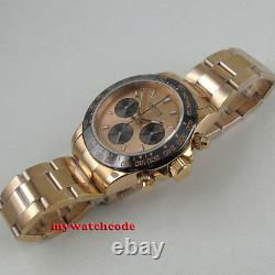 39mm PARNIS black dial sapphire rose golden full Chronograph quartz mens watch