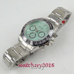 39mm PARNIS blue dial sapphire cermaic bezel full Chronograph quartz mens watch