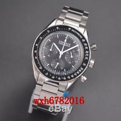 40mm corgeut Multifunction Quartz Mens Watch Full Chronograph steel bracelet