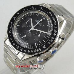40mm corgeut black dial steel bracelet quartz full chronograph mens watch 176B