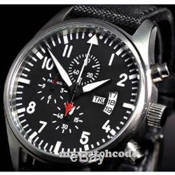 42mm PARNIS black dial week date window quartz Full chronograph mens watch P22