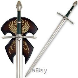 46 Full Tang Lord of the Rings Strider Ranger Sword Display Plaque LOTR Aragorn