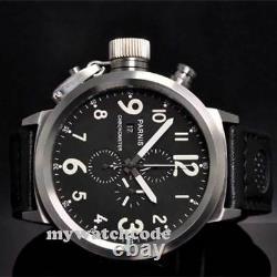 50mm Parnis Big Face black dial day date mens quartz WATCH Full chronograph P34