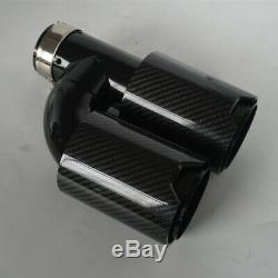 63-89mm Universal Full Glossy Carbon Fiber Car Exhaust Dual Pipes End Tips -Left