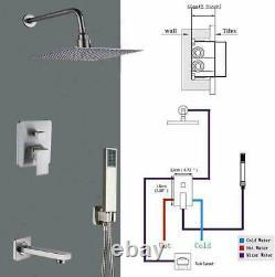 Bathroom Luxury Rain Mixer Combo Set Wall Mounted Rainfall Shower Head System
