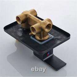 Black Shower Faucet Combo Set Wall Mount 16-inch Rainfall Shower System Mixer UK