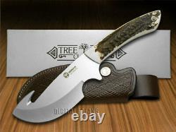 Boker Arbolito Fixed Blade Gut Hook Knife Genuine Deer Stag 02BA510HH