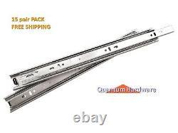 Full Extension Ball Bearing Drawer Slides 100lb 15 PAIR PACK