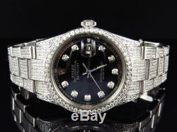 Full Iced Mens Rolex 36 MM Datejust Oyster Stainless Steel Diamond Watch 8.5 Ct