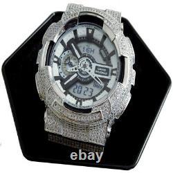 Full Icy Men's White Gold Tone Diamond Simulated Custom G Shock GD-100-1B Watch