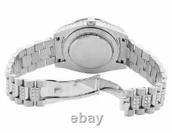 Full Stainless Steel Simulated Diamond 18K White Gold Presidential Watch 41mm