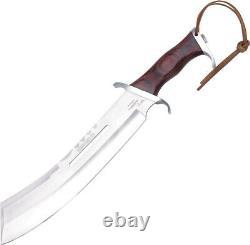 GIL HIBBEN Brown Wood 17-1/2 IV COMBAT Machete Knife + Leather Sheath 5008