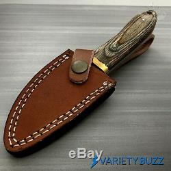 Hunting Survival Skinning Fixed Blade Knife Full Tang with Leather Sheath WOOD New