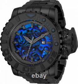 Invicta 70mm Full Sea Hunter Black Automatic Diamond Accent Blue Abalone Watch