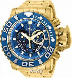Invicta Mens 70mm Full Sea Hunter III Blue Swiss Movement Gold Tone Plated Watch