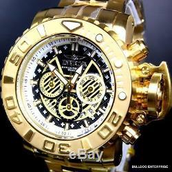 Invicta Sea Hunter III Black 70mm Full Sized Swiss 18kt Gold Plated Watch New