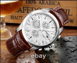 Luxury Automatic Mechanical Men Wrist Watch Leather Swiss Tachymeter Wristwatch