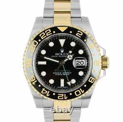MINT Rolex GMT-Master II Ceramic Black Two-Tone Gold 40mm Watch FULL SET 116713