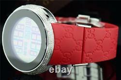 Mens Custom Full Case Digital Red I-Gucci YA114212 Genuine Diamond Watch 2.50 CT