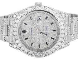 Mens Full Iced 41 MM 116334 Rolex Datejust II Stainless Diamond Watch 21.5 Ct