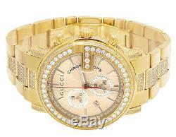 Mens Gucci Gold PVD 101 G Chrono 44MM Full Diamond YA101334 Watch 7.5 Ct