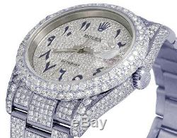 Mens Rolex Datejust 116200 36MM Steel Full Iced Pave Dial Diamond Watch 18.75 Ct