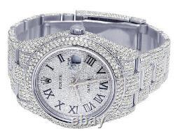 Mens Rolex Datejust II 116300 41MM S. Steel Full Iced Diamond Watch 24.75 Ct