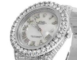 Mens Rolex Datejust II Full Iced 41 MM 116300 Stainless Diamond Watch 24.35 Ct