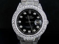 Mens Stainless Steel Rolex Datejust Oyster Steel 36MM Full Diamond Watch 9.0 Ct
