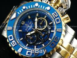 NEW Invicta Full Size 70mm Sea Hunter Swiss Chrono 18K GIP TT Blue Dial SS Watch
