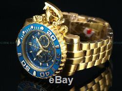 NEW Invicta Full Size 70mm Sea Hunter Swiss Chrono 18K Gold IP Blue Dial Watch