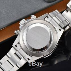 New Arrive 39mm PARNIS Blue Dial Quartz Mens Watch solid case full Chronograph