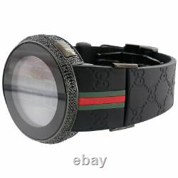 New Mens Custom Black Full Digital I Gucci YA114207 Black Diamond Watch 2.50 CT