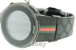 New Mens Custom Black Full i Gucci Digital YA114207 White Diamond Watch 2 CT