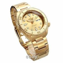 New SEIKO 5 SRPE74K1 Automatic Full Stainless Steel 42mm Gold 24 jewels