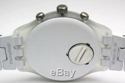 New Swatch Irony Chrono Full Blooded White Skull Date Watch 43mm SVCW4000AG $160