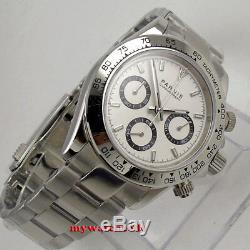 New arrive 39mm PARNIS white dial quartz mens watch solid case full Chronograph
