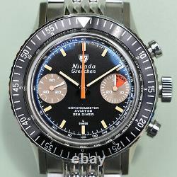 Nivada Grenchen Orange Boy Manual Wind Chronomaster Chronograph- 86012M Full Set
