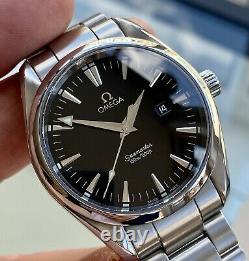 Omega Seamaster Aqua Terra Quartz Mens 150M Black Steel Watch Full Set Papers