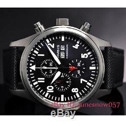 PARNIS 42mm Black Dial Date Week Luminous Full Chronograph Men's Quartz Watch