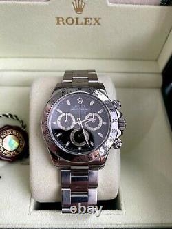 Rolex Black Dial Daytona Stainless Steel 116520 Chronograph Wristwatch Full Set