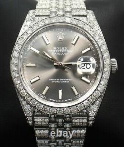 Rolex Datejust 41mm 126300 Jubilee Rhodium Dial Full Diamonds ICED B/PAPERS MINT