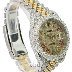 Rolex Mens Datejust II Two Tone 18K/ S Steel Rainbow 41MM Full Diamond Watch