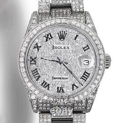 Rolex Roman Numerals Iced out Full Pave Diamond 36mm Datejust Steel Steel Oyster