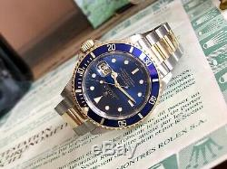 Rolex Submariner 16613 Blue Dial Gold Steel 1994 Mens watch Full set Box Papers