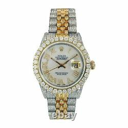 Rolex Watch Datejust Two-Tone 18k Gold and Steel White Roman Full Diamonds 36mm