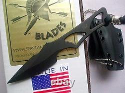 Spartan Enyo Fixed Blade Fighting Neck Knife Kydex Sheath Plain Edge SB2BK New