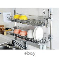 Stainless Fixing Double Shelf Dish Drying Rack Drainer Dryer Tray Kitchen Shelf